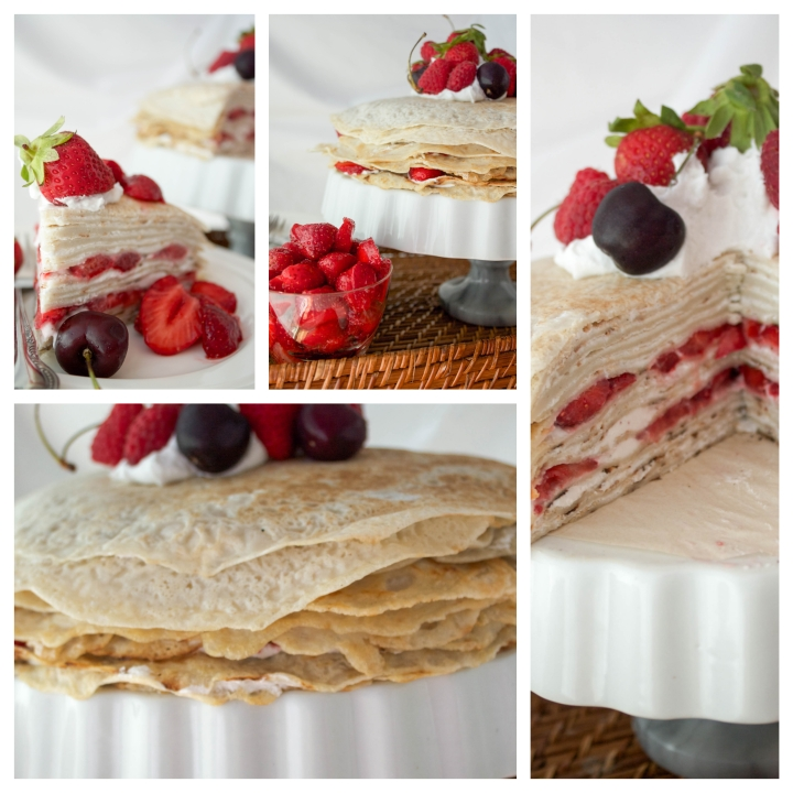 mille crepe cake collage